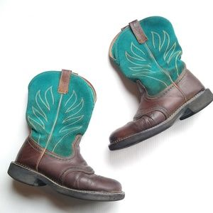Ariat • western leather teal cowgirl boots